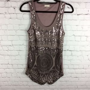 Silence + Noise Sequin Tank Top Taupe Brown Small